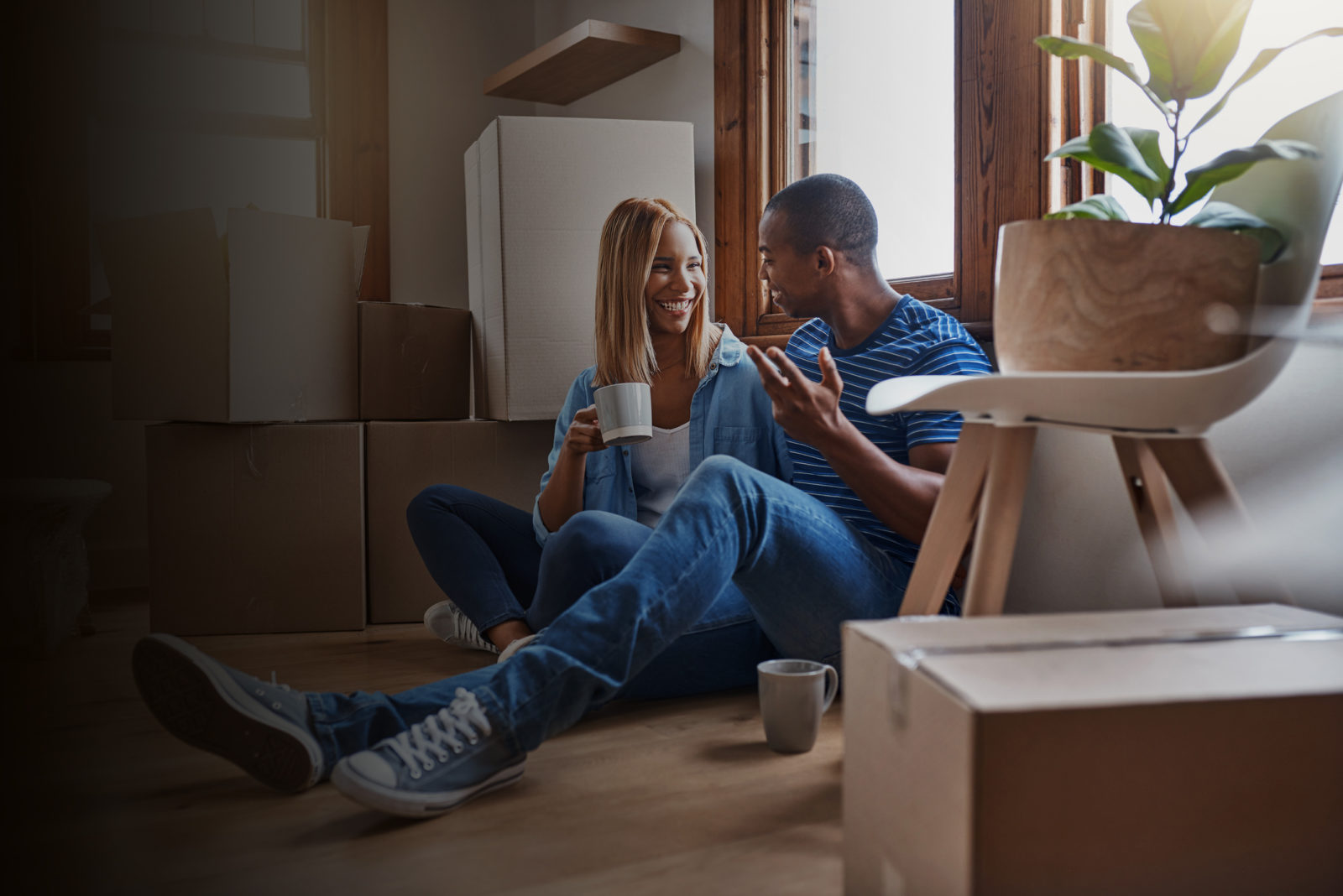 Couple enjoying their new home